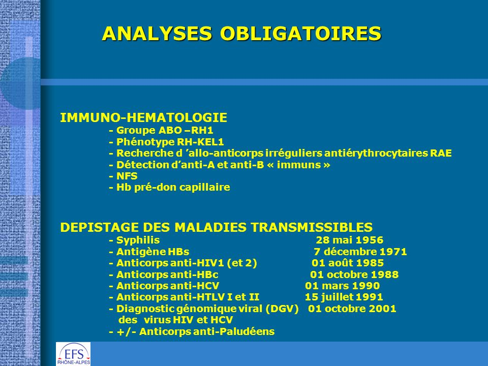 ANALYSES OBLIGATOIRES