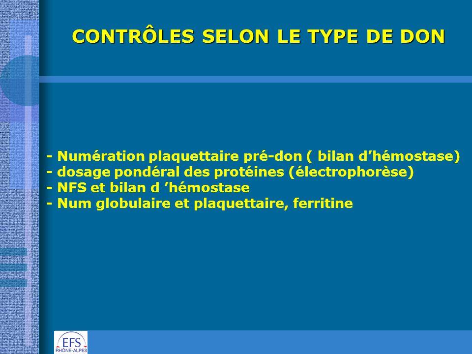 CONTRÔLES SELON LE TYPE DE DON