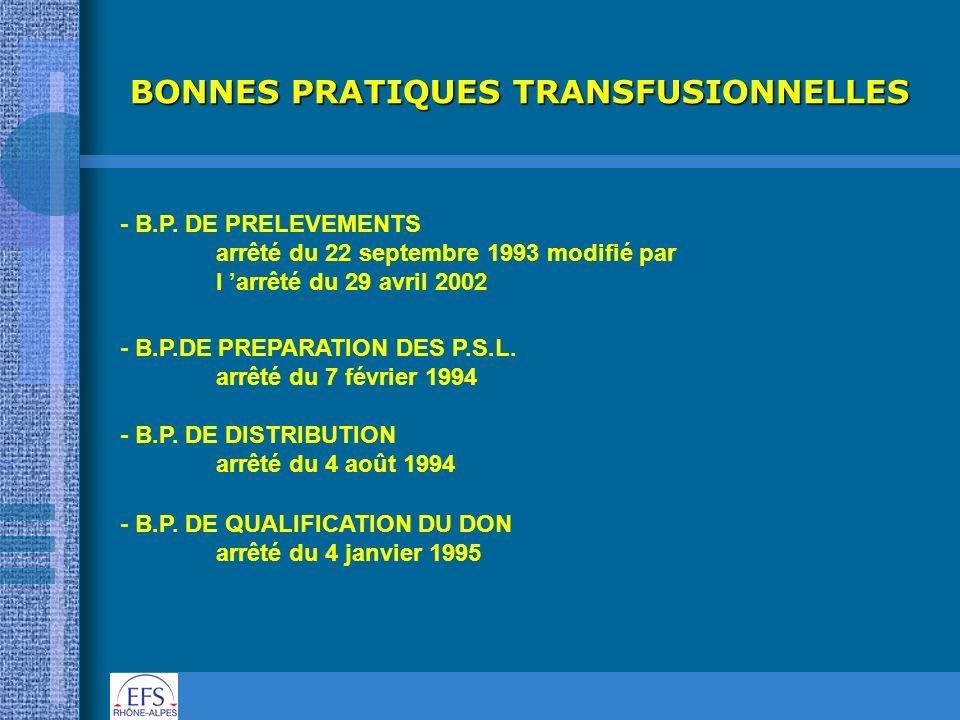 BONNES PRATIQUES TRANSFUSIONNELLES
