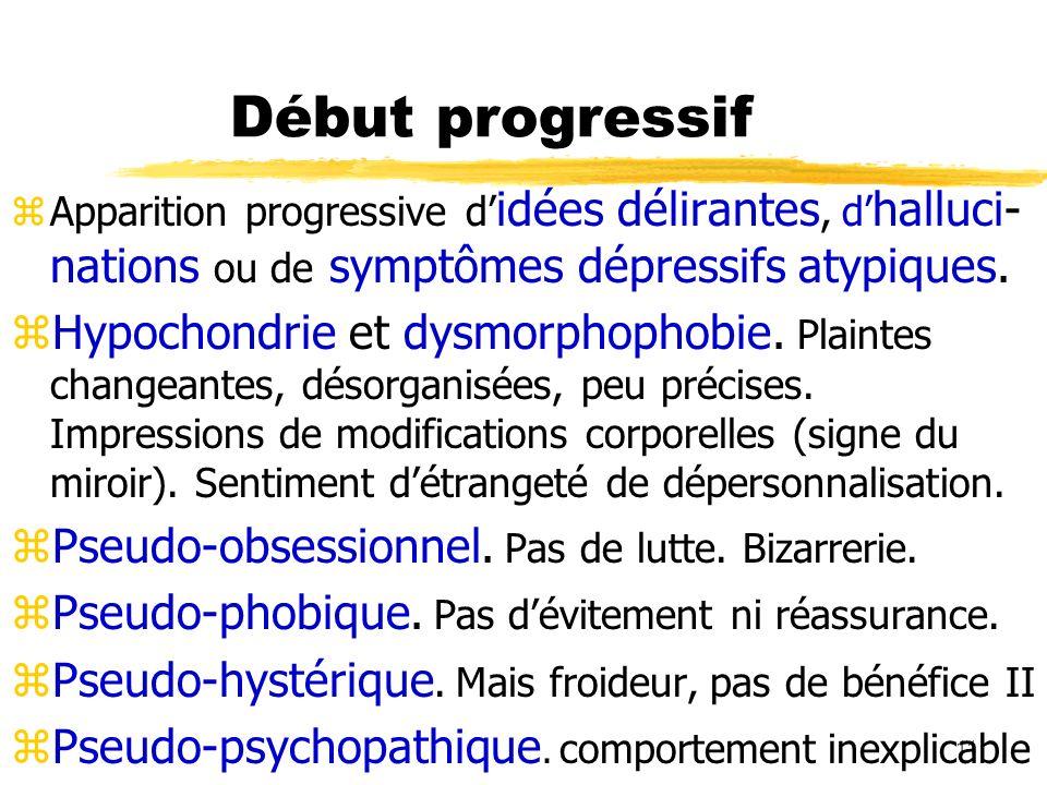 Début progressifApparition progressive d'idées délirantes, d'halluci-nations ou de symptômes dépressifs atypiques.