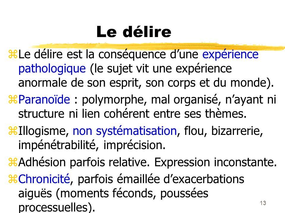 Le délire Le délire est la conséquence d'une expérience pathologique (le sujet vit une expérience anormale de son esprit, son corps et du monde).