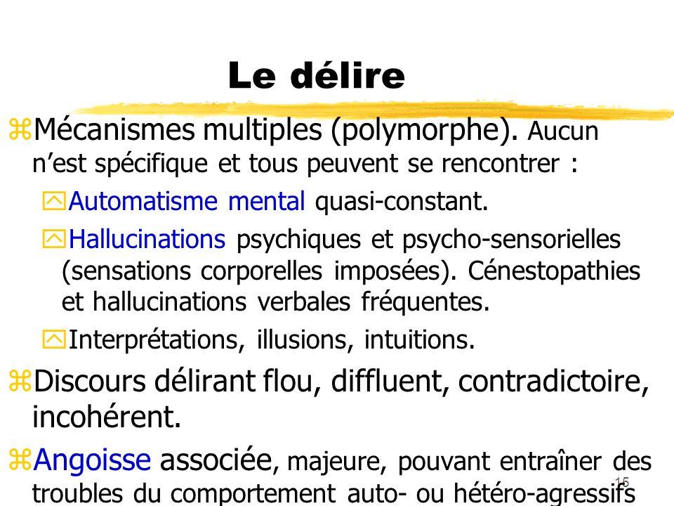 Le délireMécanismes multiples (polymorphe). Aucun n'est spécifique et tous peuvent se rencontrer : Automatisme mental quasi-constant.
