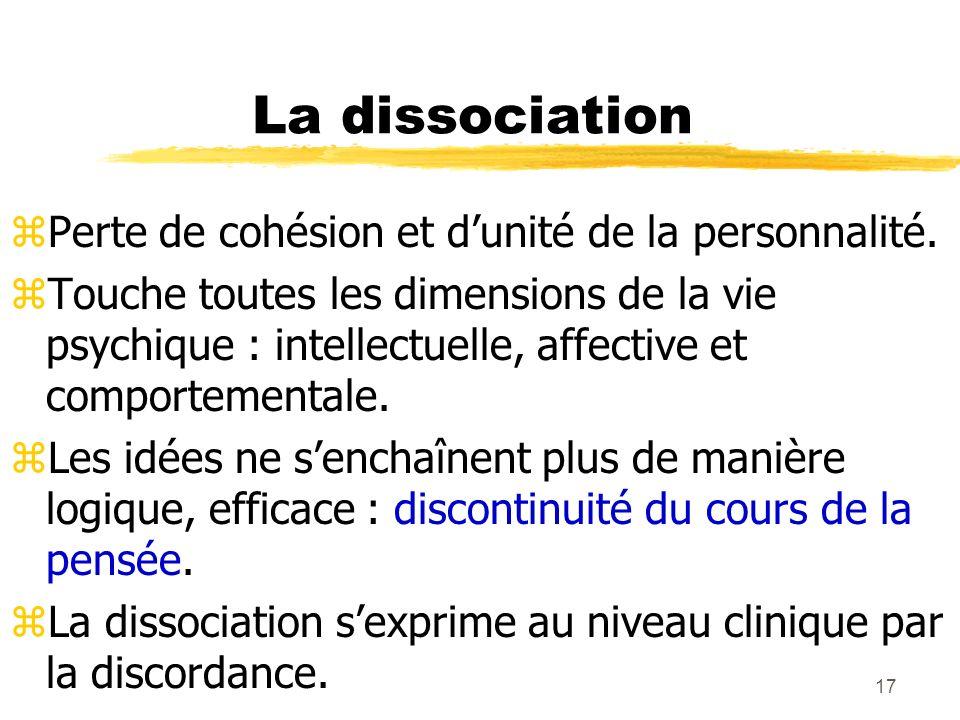 La dissociation Perte de cohésion et d'unité de la personnalité.