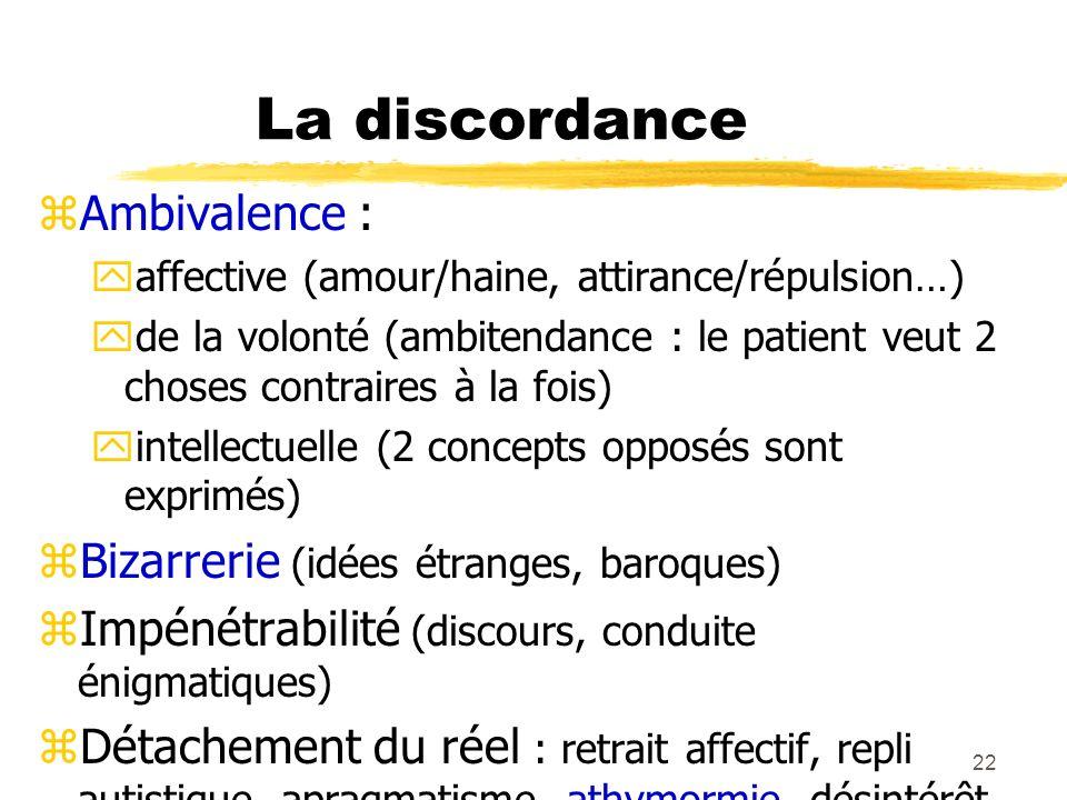 La discordance Ambivalence : Bizarrerie (idées étranges, baroques)