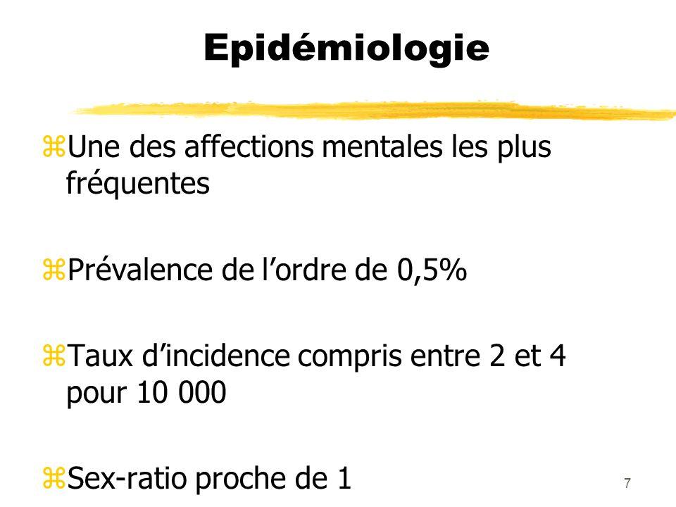 Epidémiologie Une des affections mentales les plus fréquentes