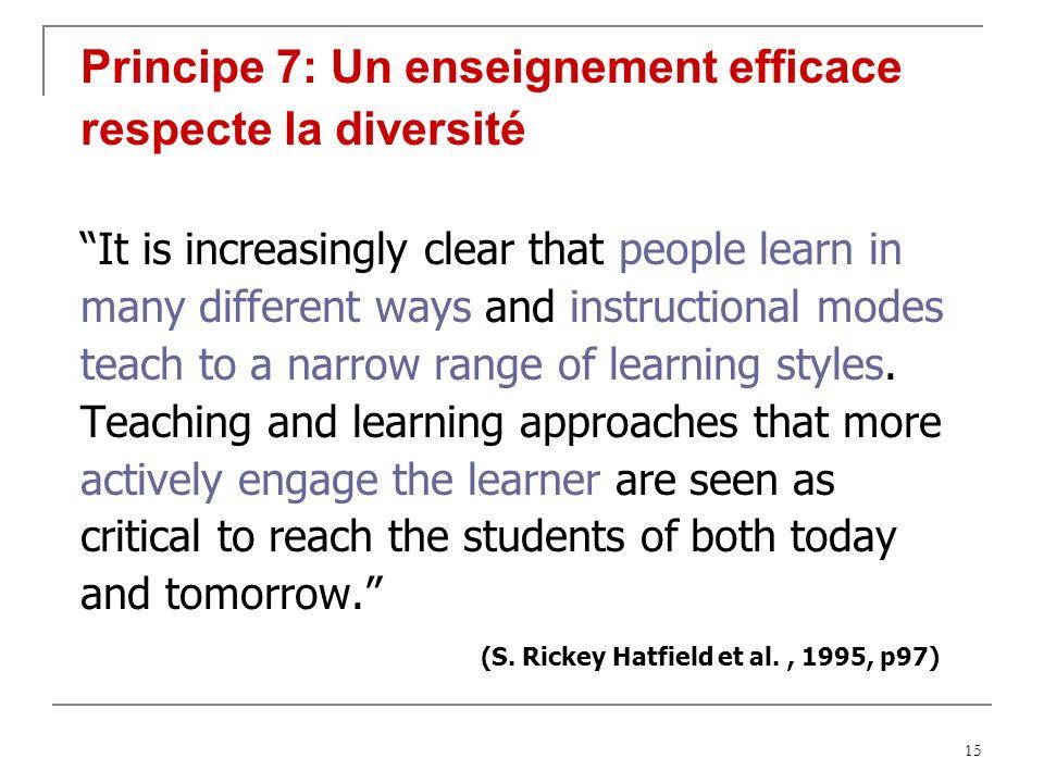 Principe 7: Un enseignement efficace respecte la diversité