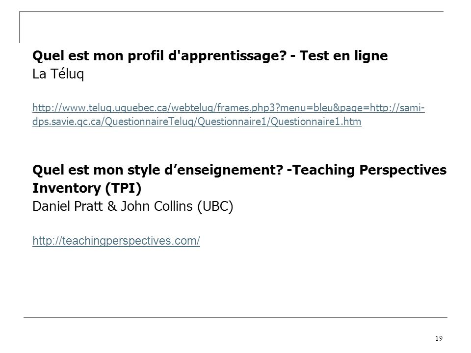 Quel est mon profil d apprentissage - Test en ligne La Téluq