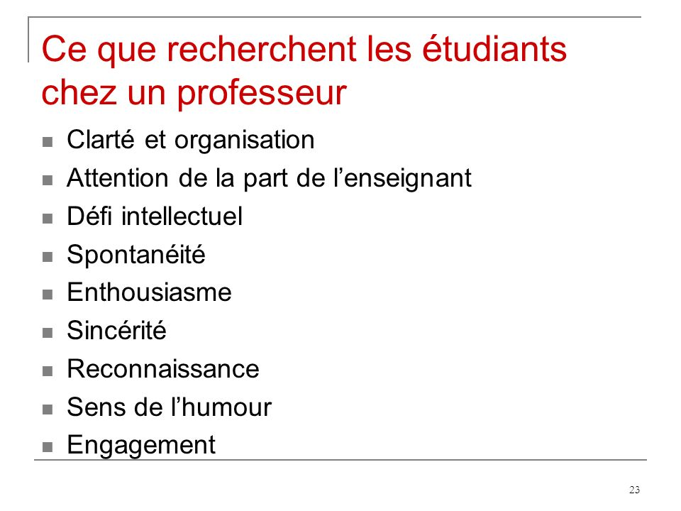 Ce que recherchent les étudiants chez un professeur