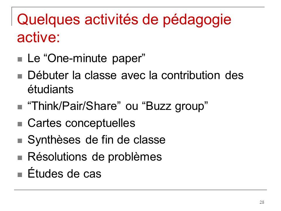 Quelques activités de pédagogie active: