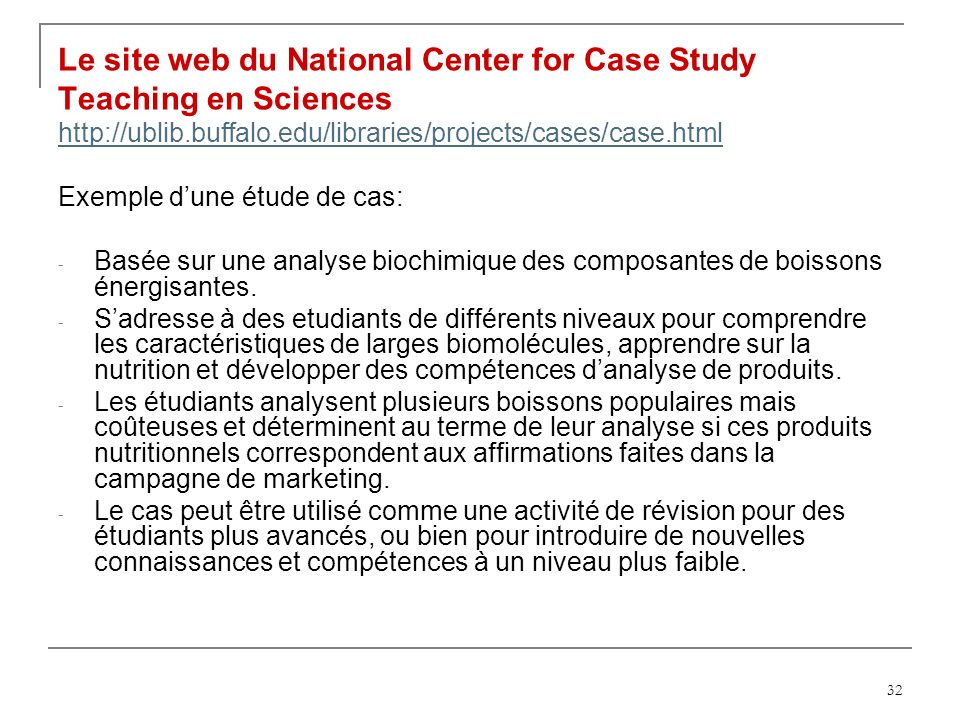 Le site web du National Center for Case Study Teaching en Sciences