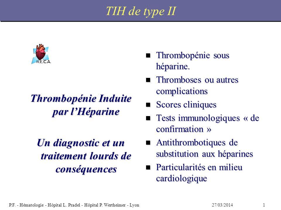 TIH de type II Thrombopénie Induite par l'Héparine