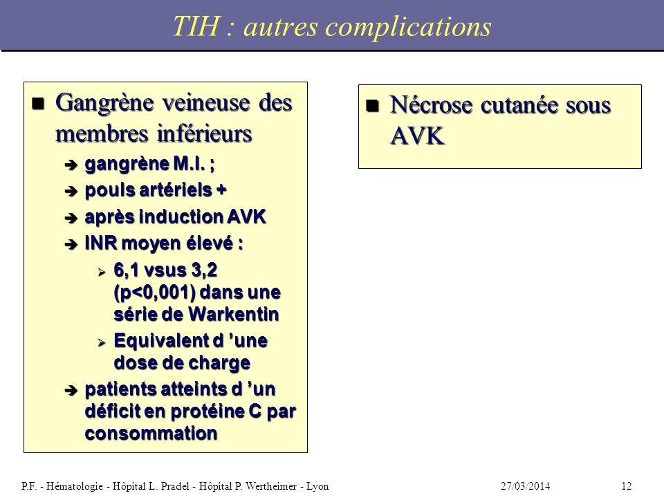 TIH : autres complications