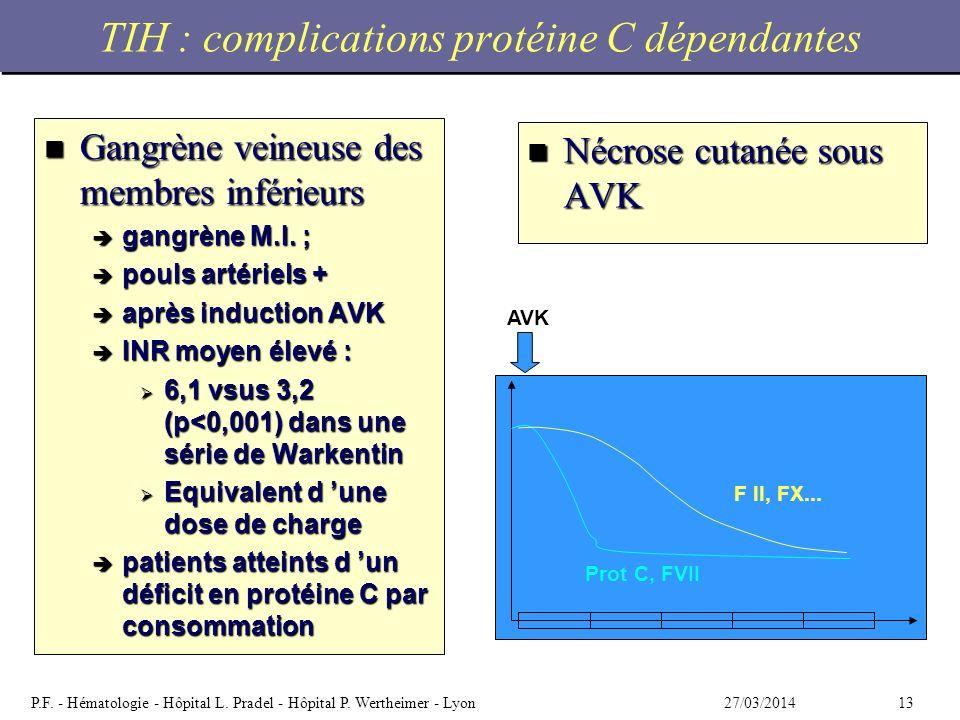 TIH : complications protéine C dépendantes