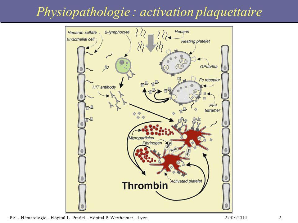 Physiopathologie : activation plaquettaire