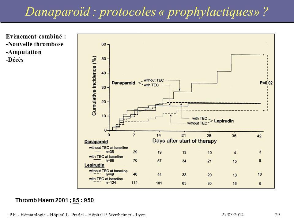 Danaparoïd : protocoles « prophylactiques»