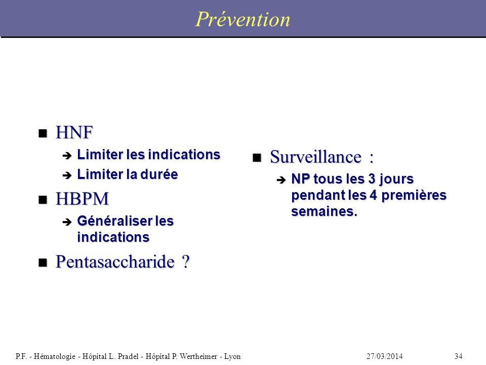 Prévention HNF Surveillance : HBPM Pentasaccharide
