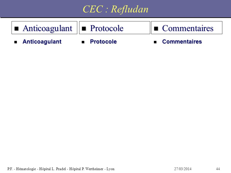 CEC : Refludan Anticoagulant Protocole Commentaires Anticoagulant
