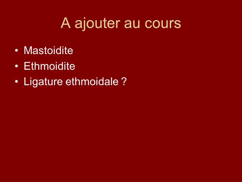 A ajouter au cours Mastoidite Ethmoidite Ligature ethmoidale