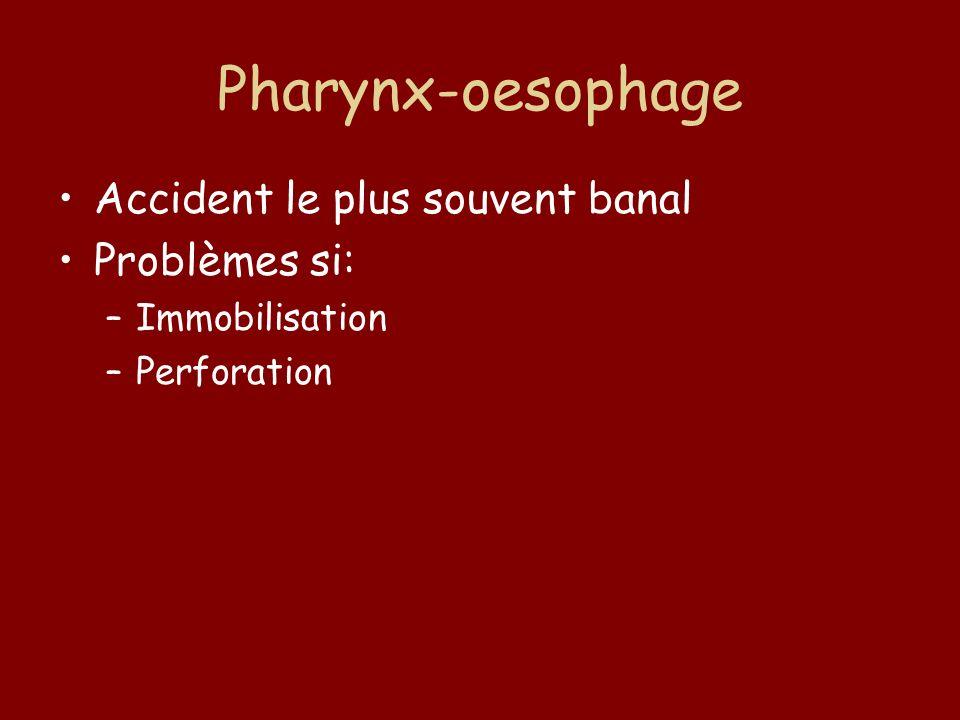 Pharynx-oesophage Accident le plus souvent banal Problèmes si: