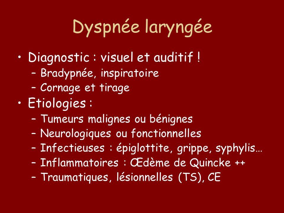 Dyspnée laryngée Diagnostic : visuel et auditif ! Etiologies :
