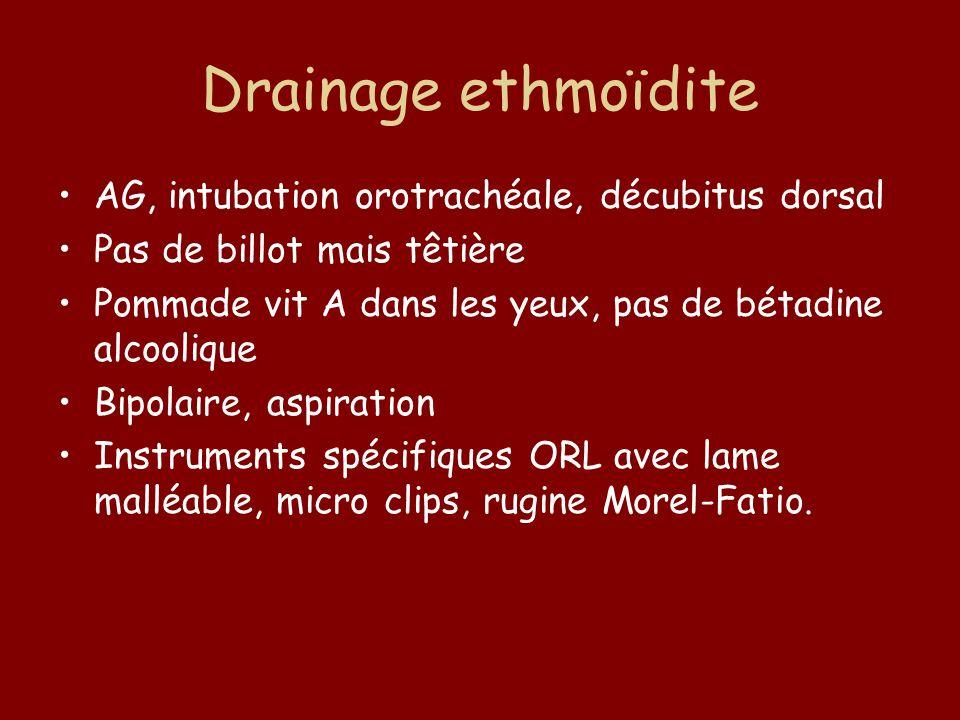 Drainage ethmoïdite AG, intubation orotrachéale, décubitus dorsal