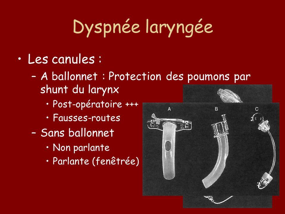 Dyspnée laryngée Les canules :