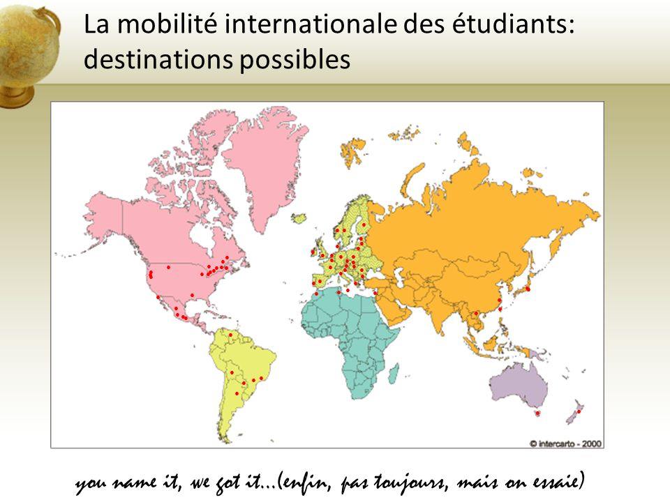 La mobilité internationale des étudiants: destinations possibles