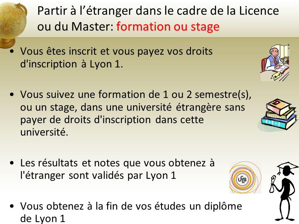 Partir à l'étranger dans le cadre de la Licence ou du Master: formation ou stage