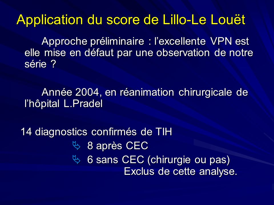 Application du score de Lillo-Le Louët