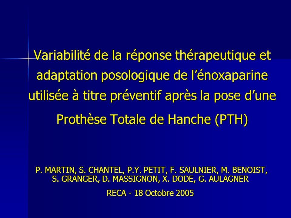 Variabilité de la réponse thérapeutique et adaptation posologique de l'énoxaparine utilisée à titre préventif après la pose d'une Prothèse Totale de Hanche (PTH)