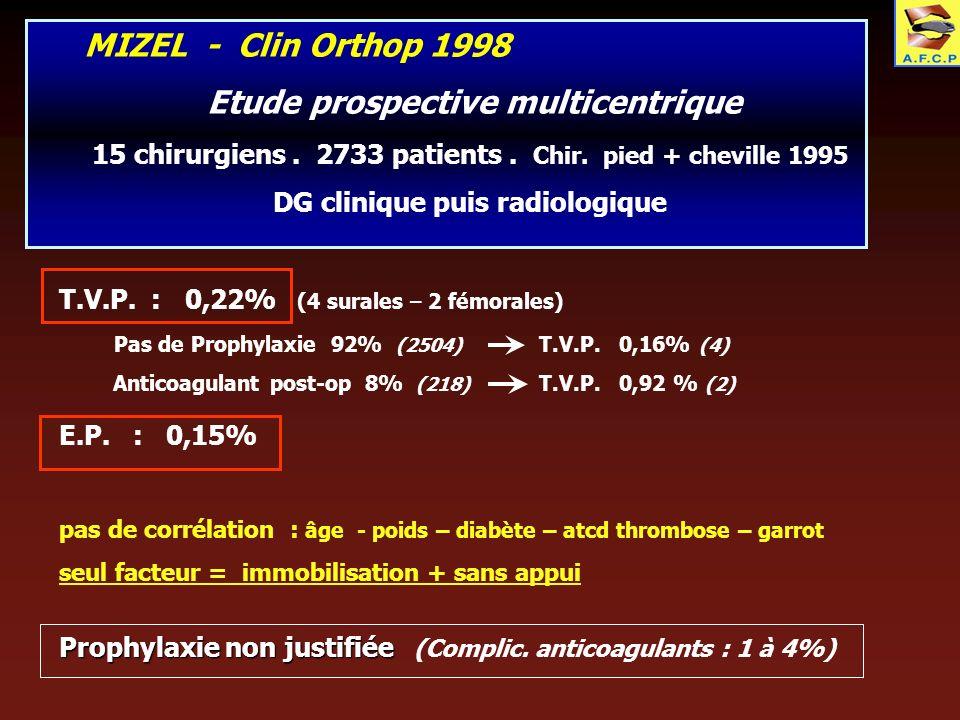 MIZEL - Clin Orthop 1998 Etude prospective multicentrique