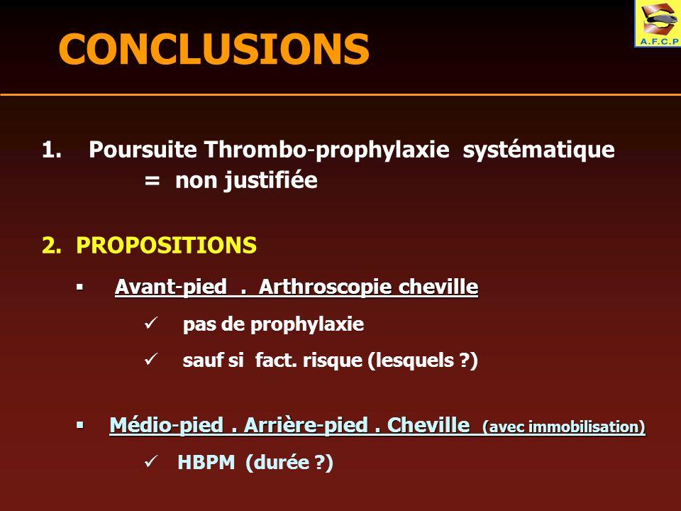 CONCLUSIONS Poursuite Thrombo-prophylaxie systématique = non justifiée