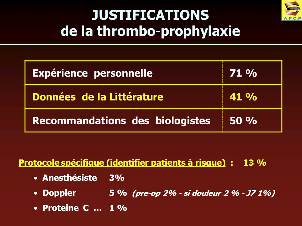 de la thrombo-prophylaxie