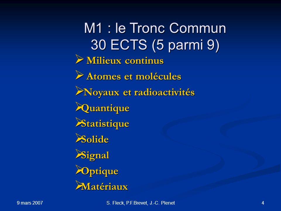 M1 : le Tronc Commun 30 ECTS (5 parmi 9)