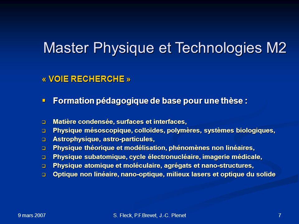 Master Physique et Technologies M2