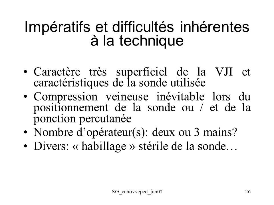 Impératifs et difficultés inhérentes à la technique