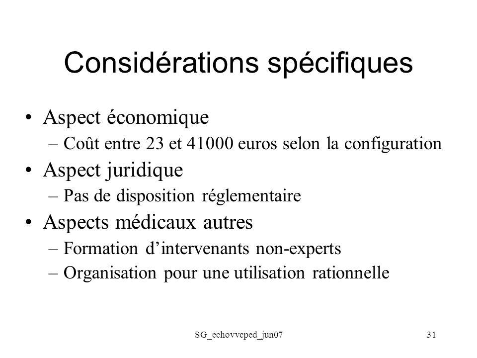 Considérations spécifiques