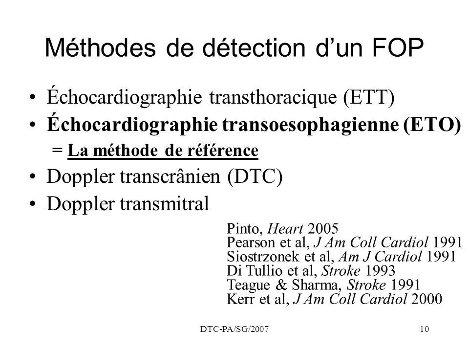 Méthodes de détection d'un FOP