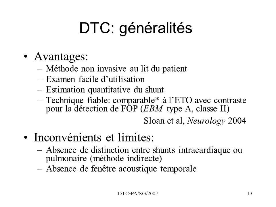 DTC: généralités Avantages: Inconvénients et limites: