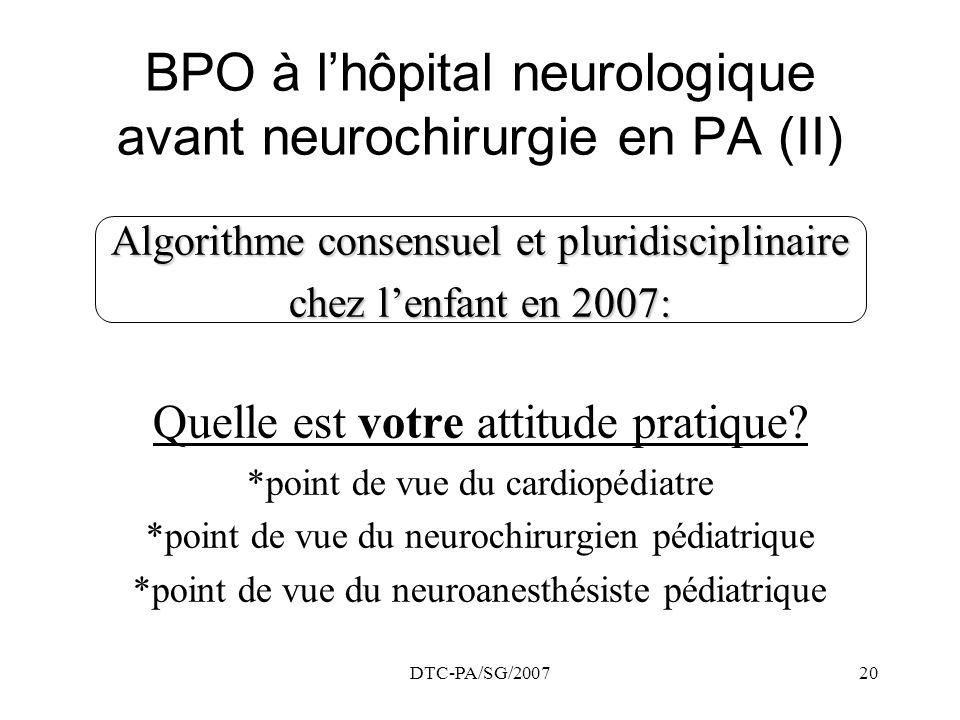 BPO à l'hôpital neurologique avant neurochirurgie en PA (II)