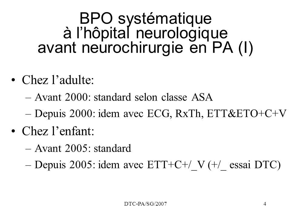 BPO systématique à l'hôpital neurologique avant neurochirurgie en PA (I)