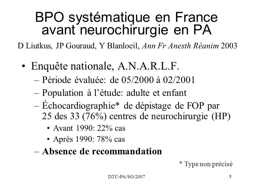 BPO systématique en France avant neurochirurgie en PA