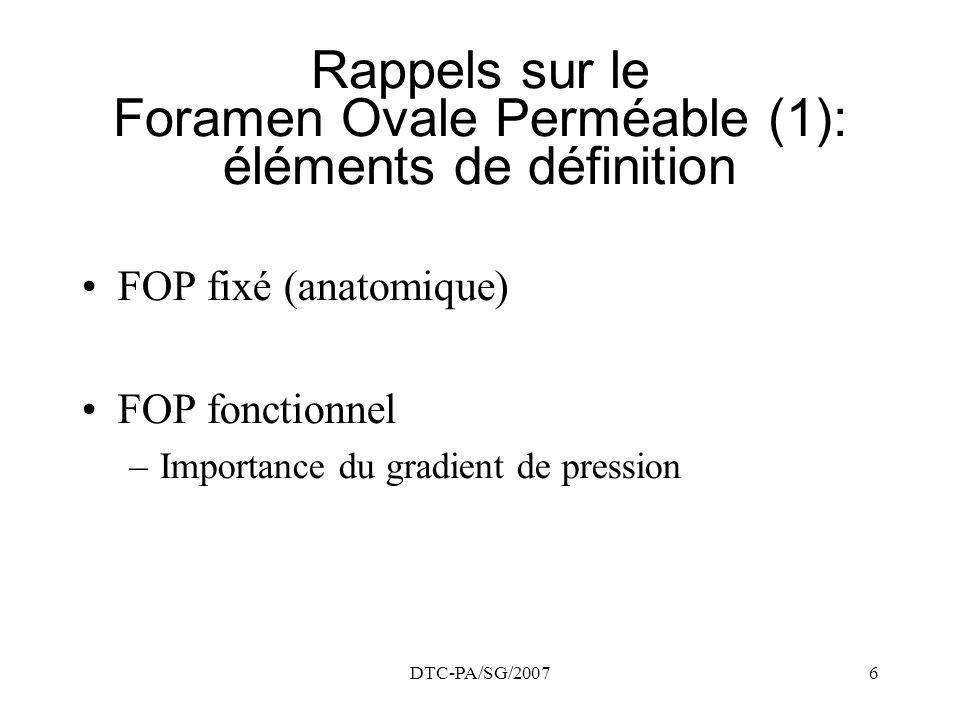 Rappels sur le Foramen Ovale Perméable (1): éléments de définition