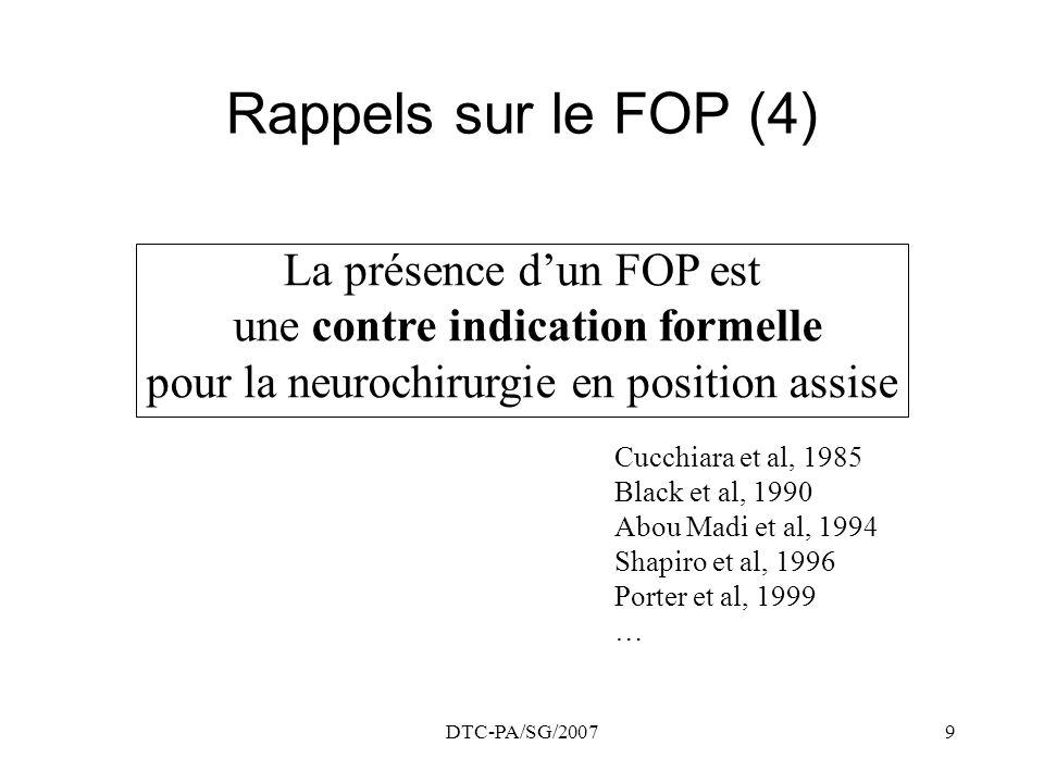 Rappels sur le FOP (4) La présence d'un FOP est