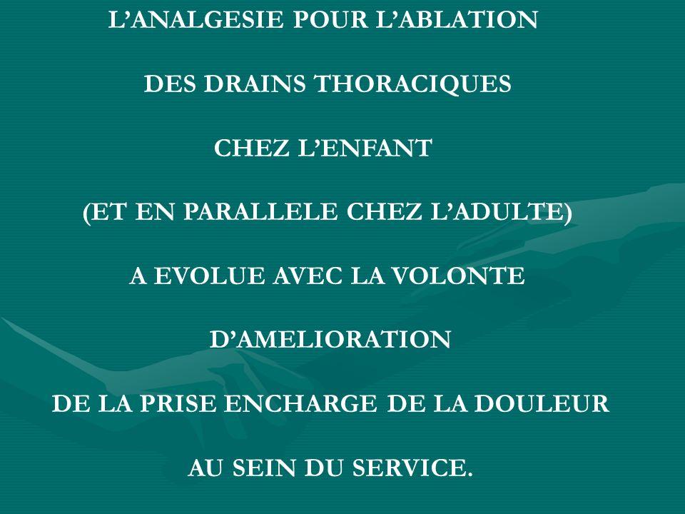 L'ANALGESIE POUR L'ABLATION DES DRAINS THORACIQUES CHEZ L'ENFANT