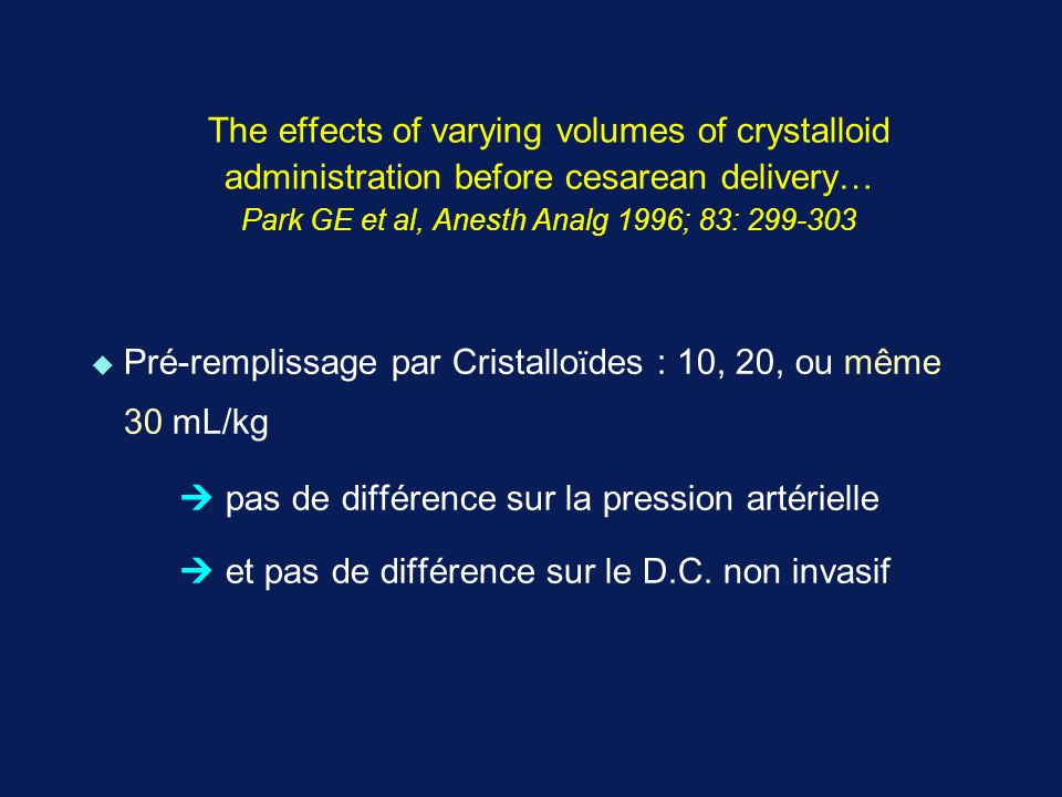The effects of varying volumes of crystalloid administration before cesarean delivery… Park GE et al, Anesth Analg 1996; 83: 299-303