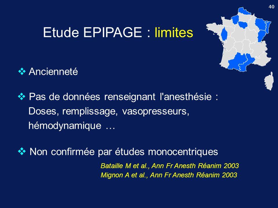 Etude EPIPAGE : limites