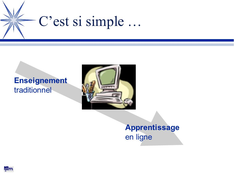 C'est si simple … Enseignement traditionnel Apprentissage en ligne