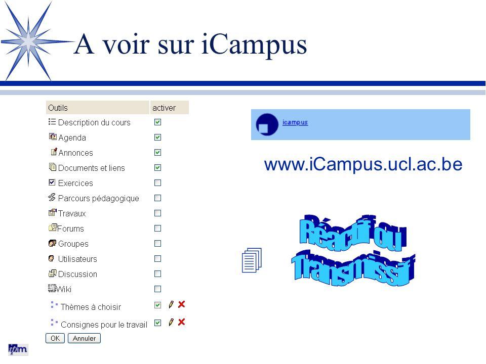 A voir sur iCampus www.iCampus.ucl.ac.be Réactif ou Transmissif 