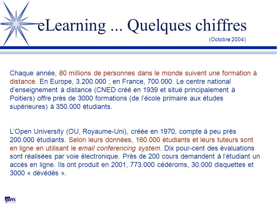 eLearning ... Quelques chiffres